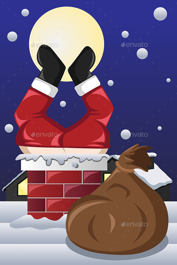 GraphicRiver Santa Claus Stuck in a Chimney 9539459