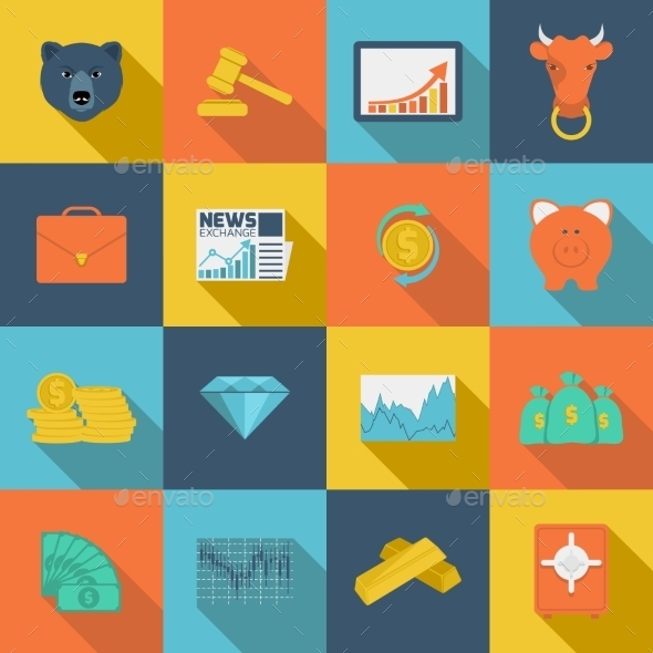 GraphicRiver Finance Exchange Flat Icons 9539461