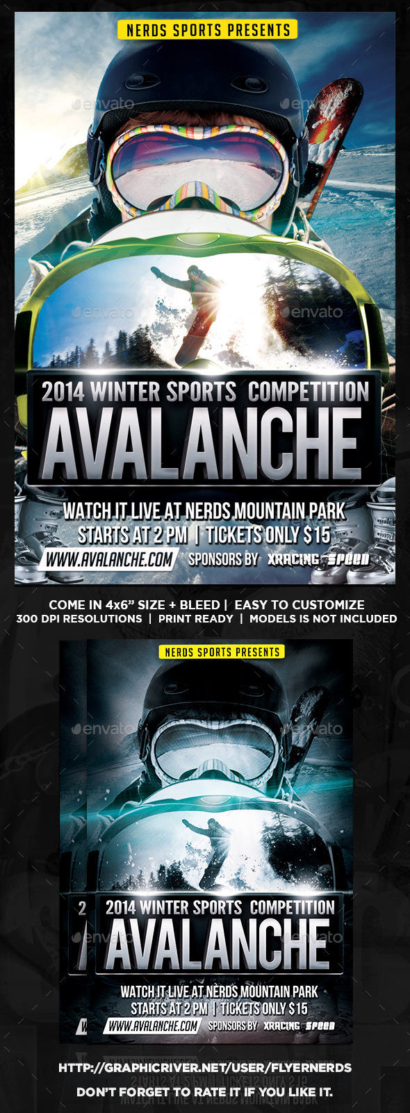 GraphicRiver Avalanche Winter Sports Tournament Flyer 9480910