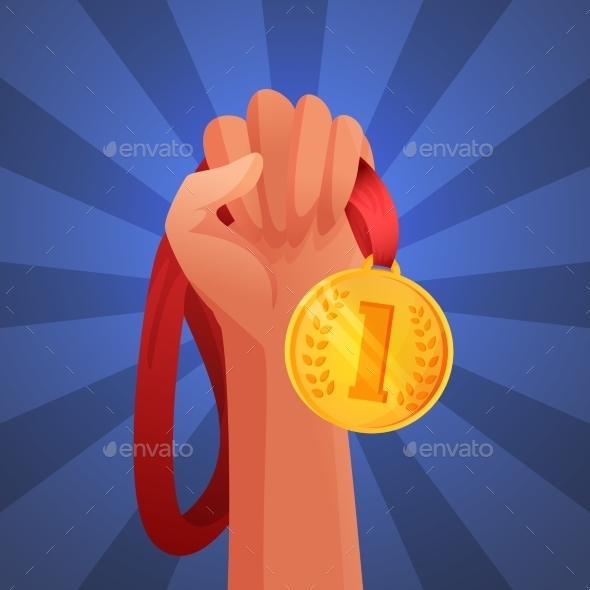 GraphicRiver Hand Holding Medal 9539524