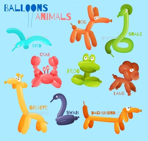 GraphicRiver Balloon Animals Isolated 9539569