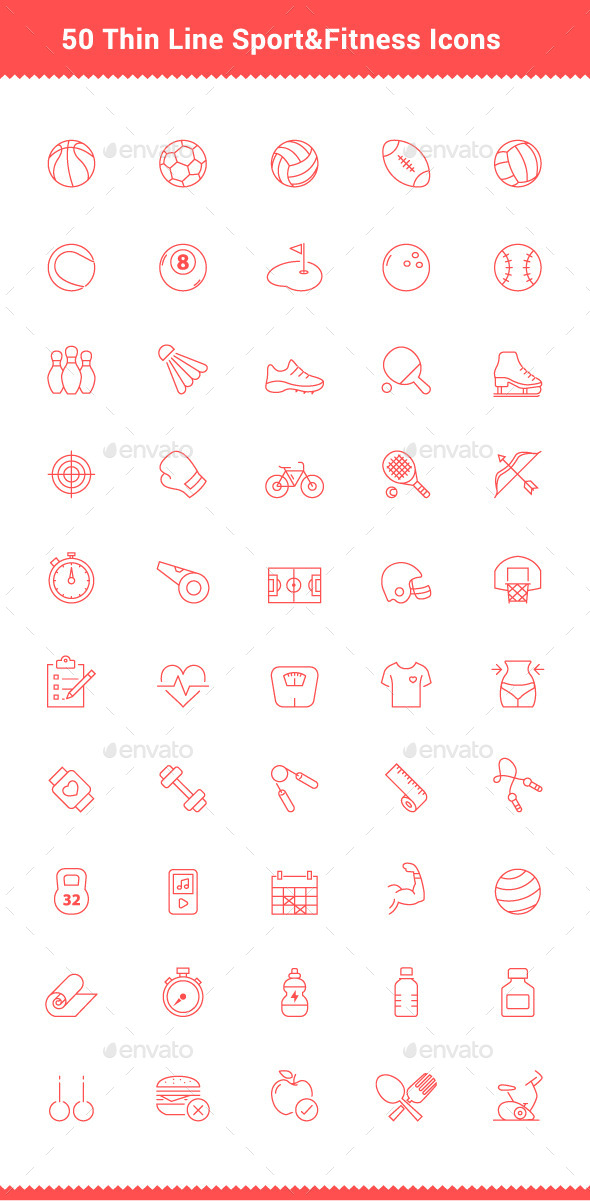 GraphicRiver 50 Thin Line Stroke Sport and Fitness Icons 9539594