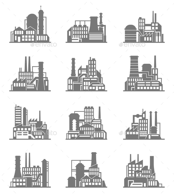 GraphicRiver Industrial Building Icons Set 9539647