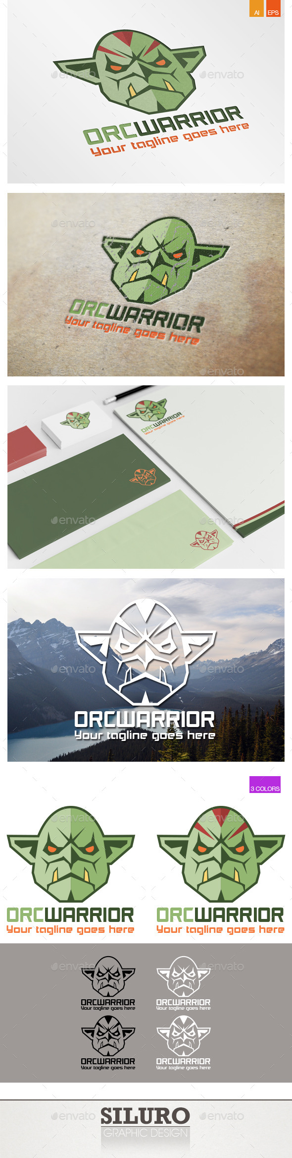 GraphicRiver Orc Warrior Logo 9540433