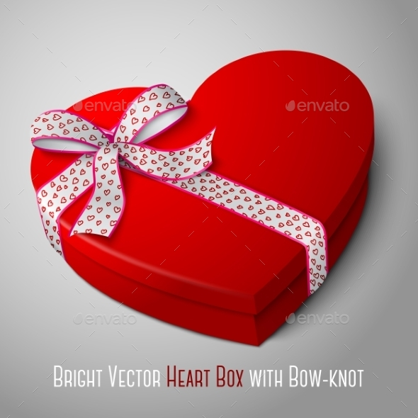 GraphicRiver Heart Shaped Box with Bow 9540809