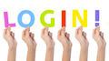 Multiethnic hands holding text login - PhotoDune Item for Sale