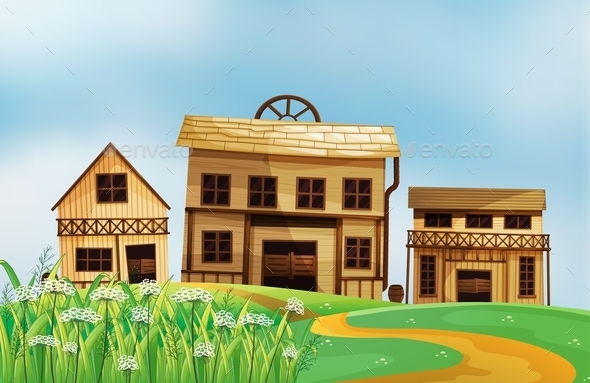 GraphicRiver Three Different Styles of Wooden Houses 9541366