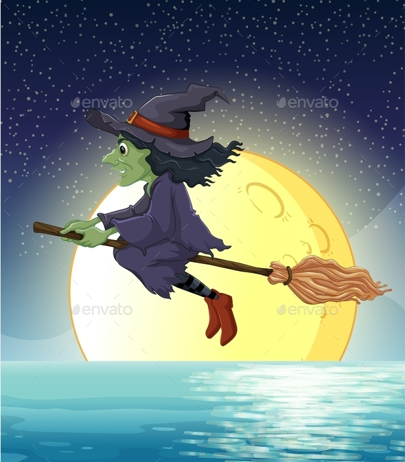 GraphicRiver Witch and Fullmoon 9541434