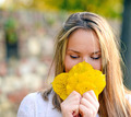 Autumn woman happy with colorful fall leaves - PhotoDune Item for Sale