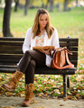Woman reading book in the Autumn park - PhotoDune Item for Sale