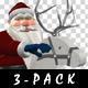 Santa Riding Wooden Reindeer - Pack of 3 - VideoHive Item for Sale