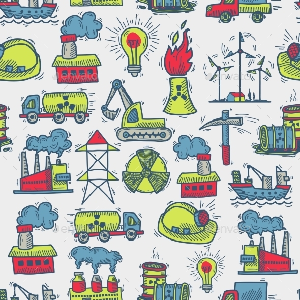 Industrial Sketch Seamless Pattern