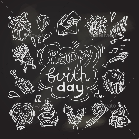 GraphicRiver Birthday Sketch Chalkboard 9542172