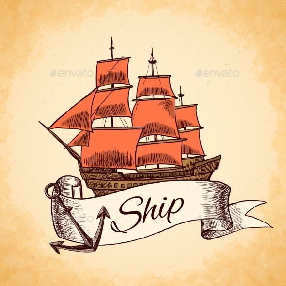 GraphicRiver Tall Ship Emblem 9542294