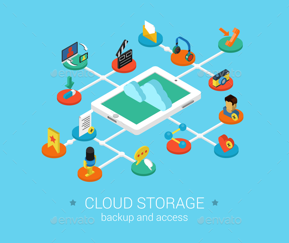 GraphicRiver Cloud Storage Concept 9542305
