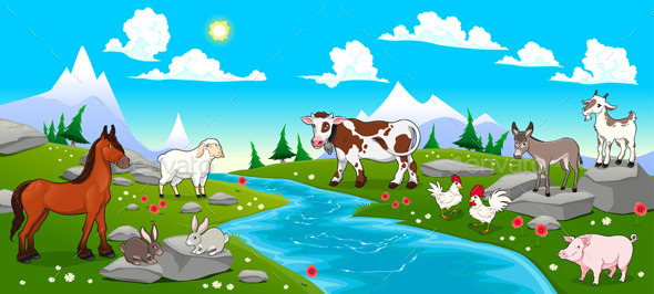 GraphicRiver Mountain Landscape with River and Animals 9542411
