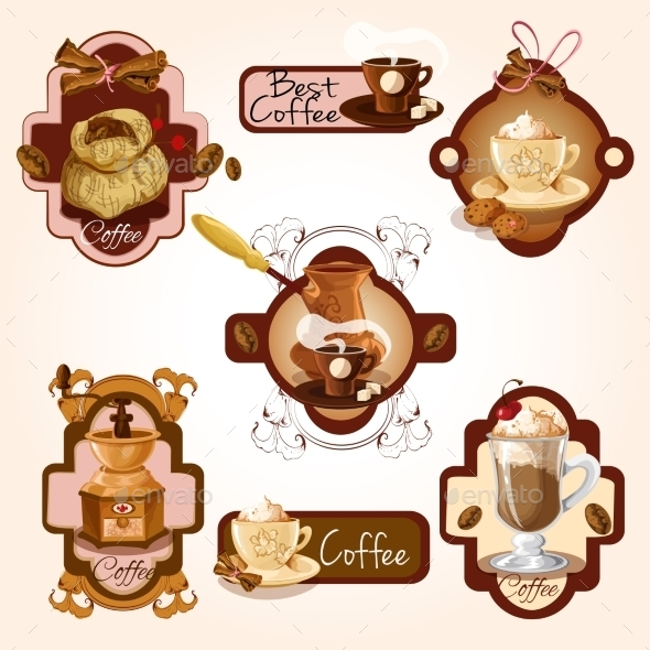 GraphicRiver Coffee Labels Set 9542424