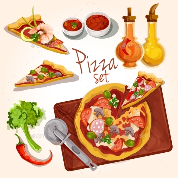 GraphicRiver Pizza Ingredients Set 9542479