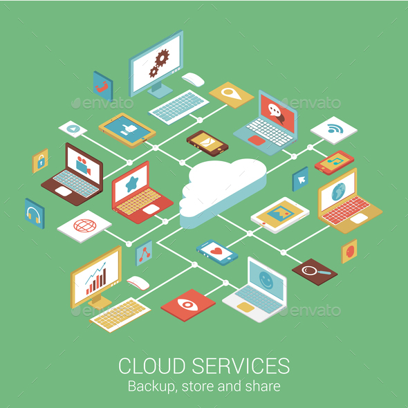 GraphicRiver Cloud Services Concept 9542583