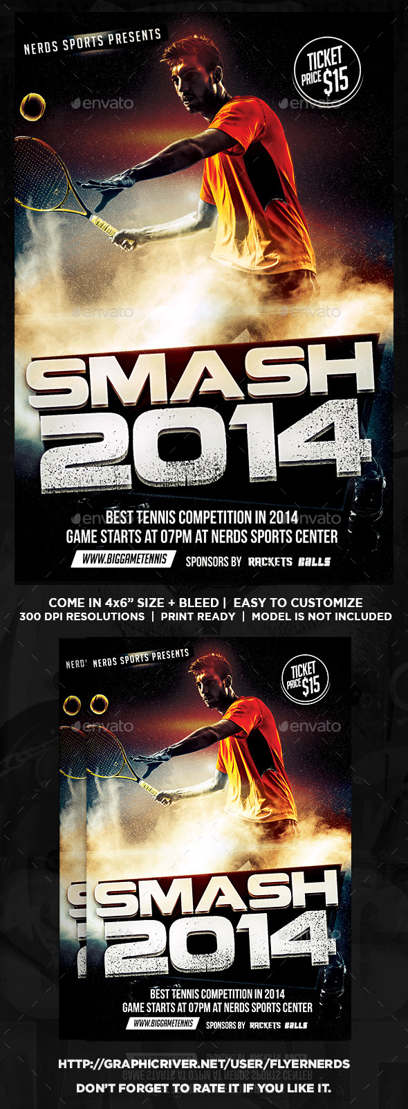 GraphicRiver Smash Tennis Sport Flyer 9543090