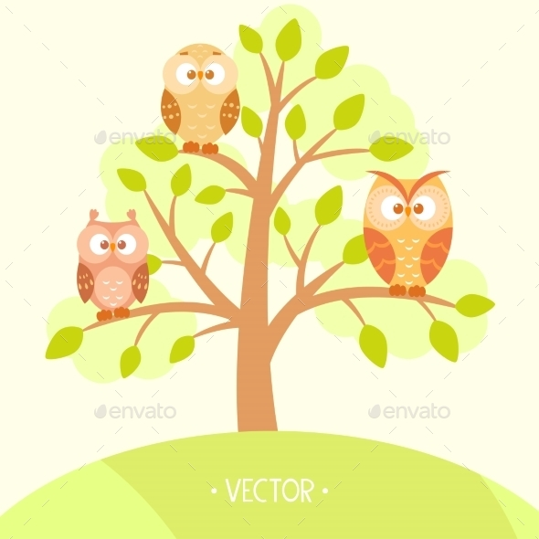 GraphicRiver Owls in a Tree 9543100