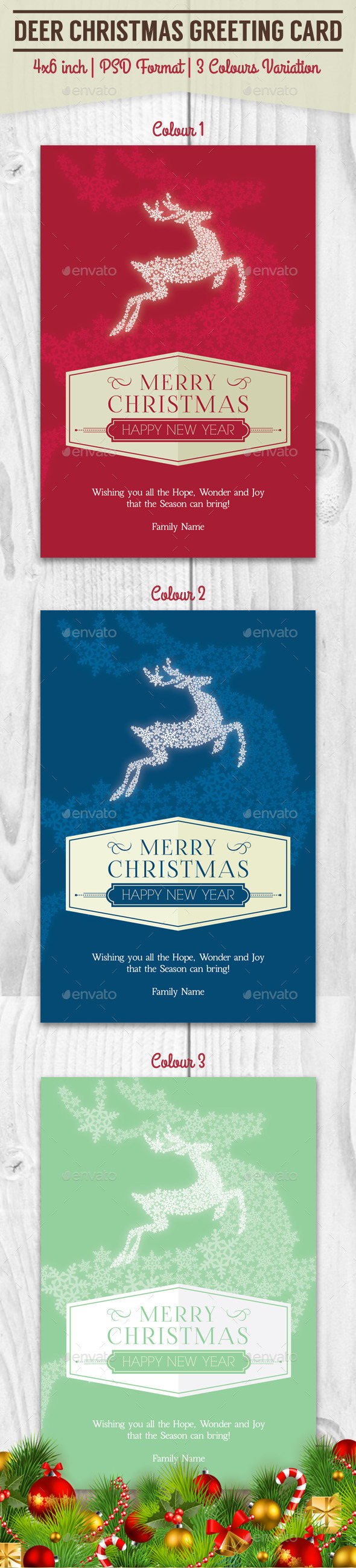 GraphicRiver Deer Christmas Greeting Card 9543111