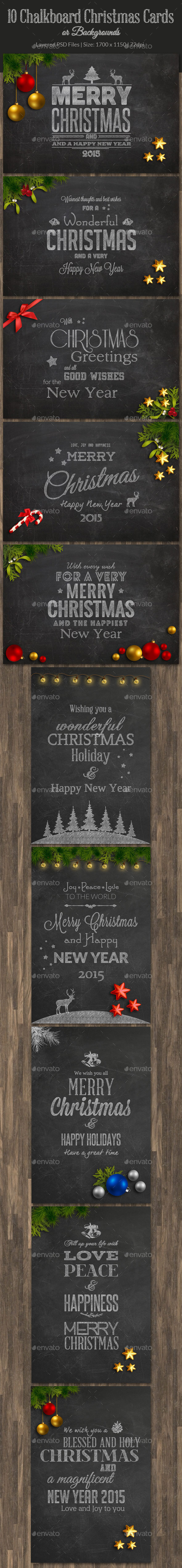 GraphicRiver 10 Christmas Chalkboard Cards 9497475