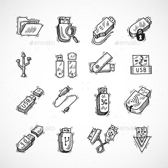 GraphicRiver Usb Icons Set 9543318