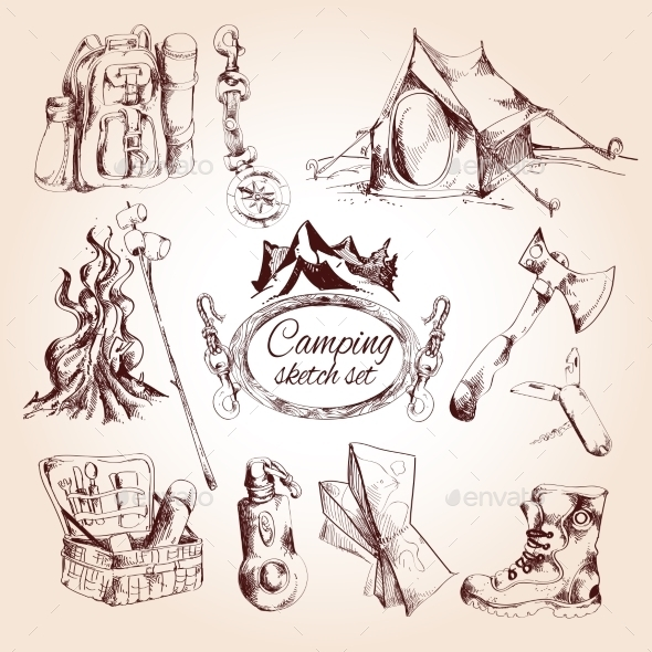 GraphicRiver Camping sketch et 9543345