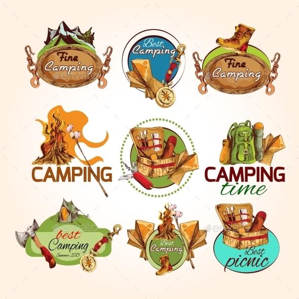 GraphicRiver Camping Sketch Emblems 9543352