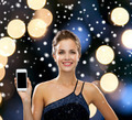 smiling woman in evening dress with smartphone - PhotoDune Item for Sale