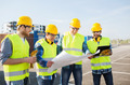group of builders with tablet pc and blueprint - PhotoDune Item for Sale