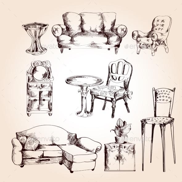 GraphicRiver Furniture Sketch Set 9543381