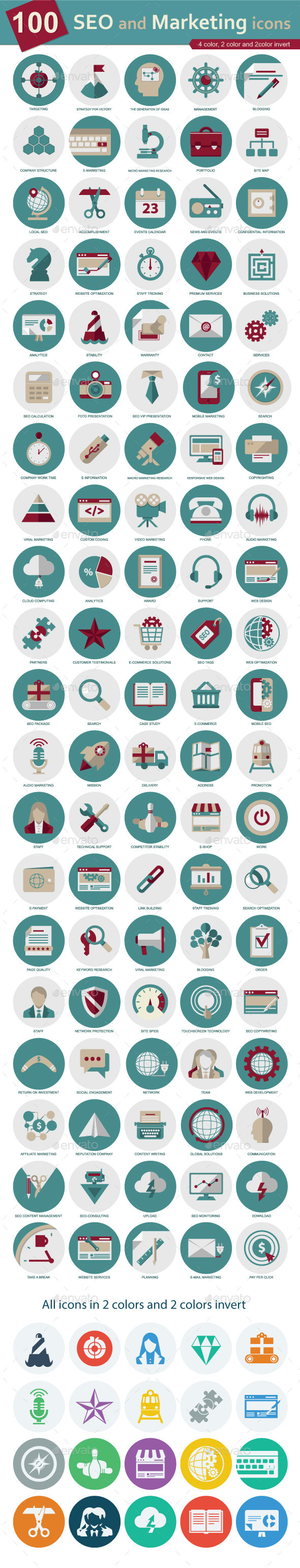 GraphicRiver SEO and Marketing icons 9543555