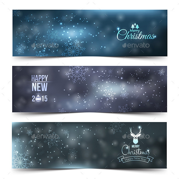 GraphicRiver Set of Colorful Abstract Christmas Banners 9499907