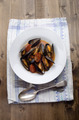 mussel with tomato chorizo sauce on a plate - PhotoDune Item for Sale