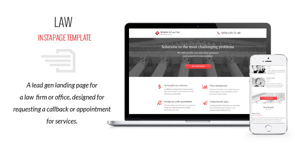 ThemeForest Law Instapage Template 9543945