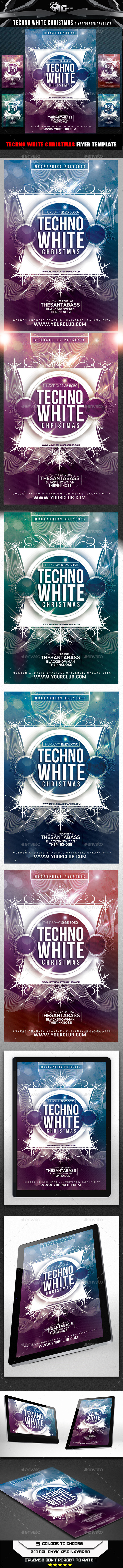 GraphicRiver Techno White Christmas Flyer Template 9544058