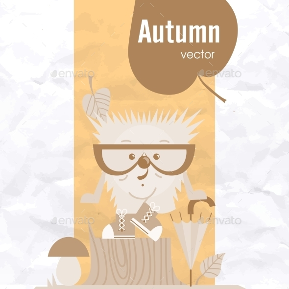 GraphicRiver Cartoon Hedgehog Hipster Style 9544293