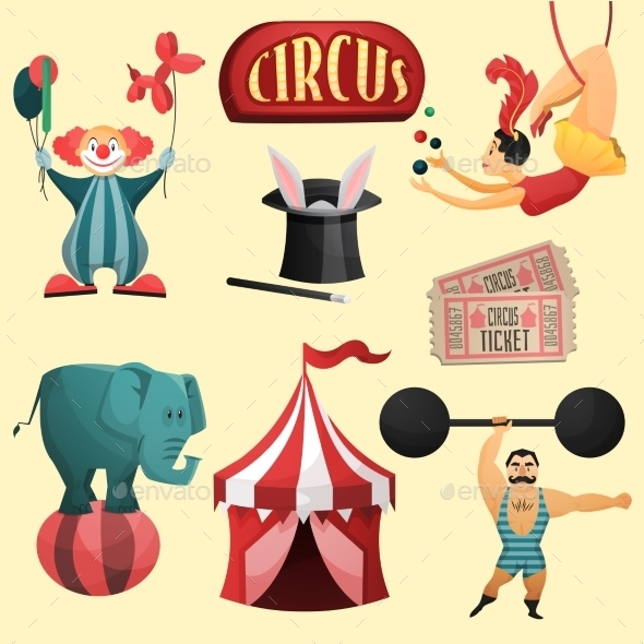 GraphicRiver Circus Decorative Set 9544347