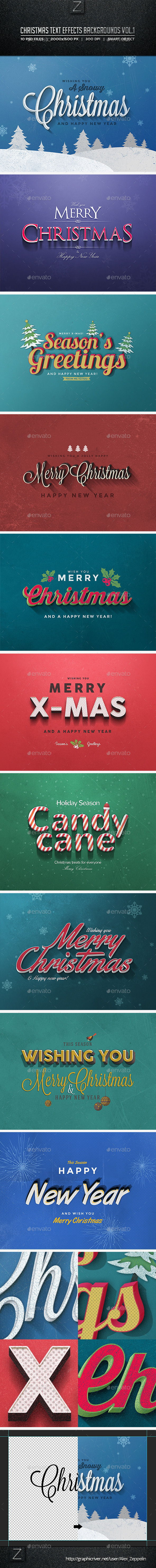 GraphicRiver Christmas Text Effects Backgrounds Vol.1 9544520