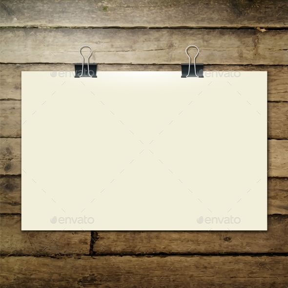 GraphicRiver Paper Sheet on the Wooden Tab 9544798