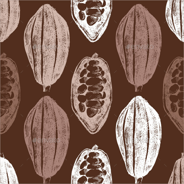 GraphicRiver Hand Drawn Cocoa Beans Seamless 9177592