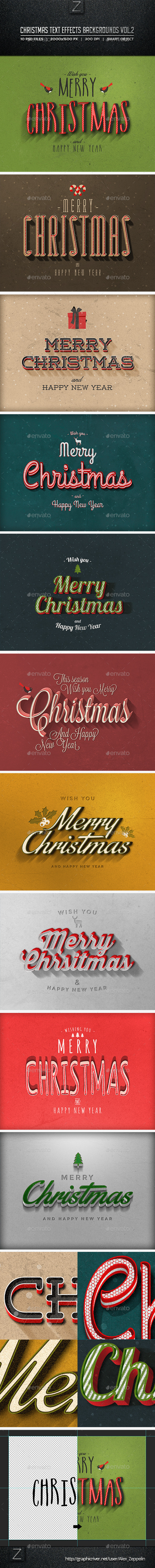 GraphicRiver Christmas Text Effects Backgrounds Vol.2 9545236
