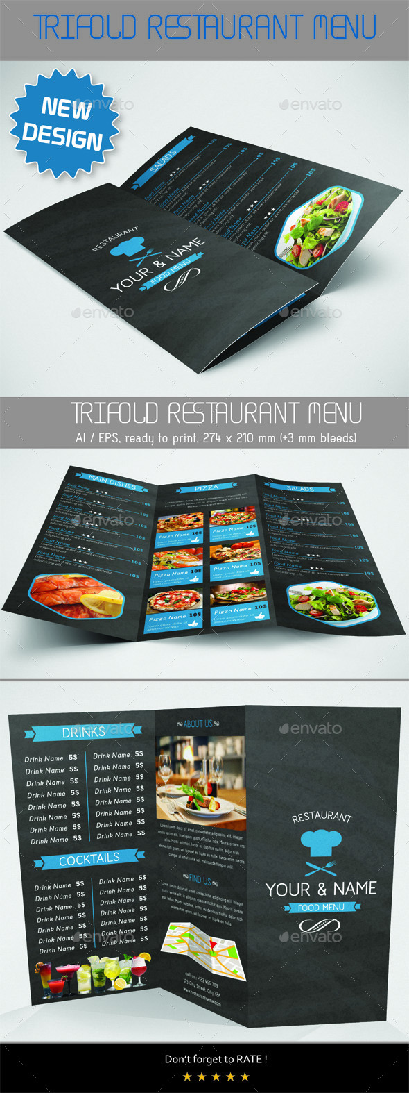 GraphicRiver Trifold Food Menu 9545557