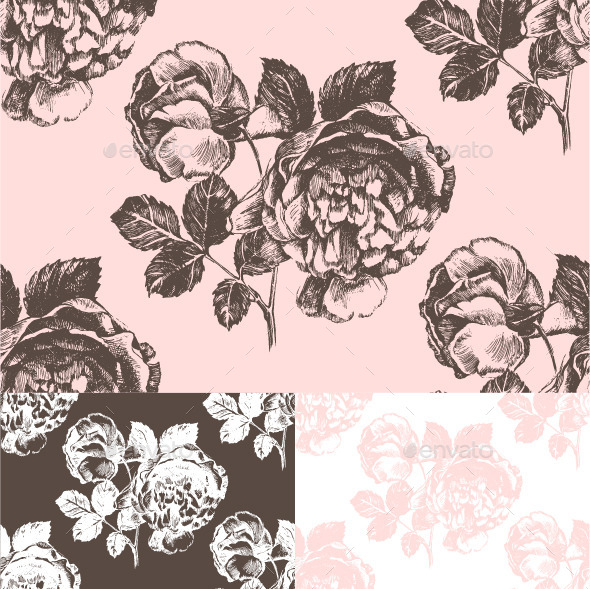 GraphicRiver Seamless Pattern with Hand Drawn Roses 8814127