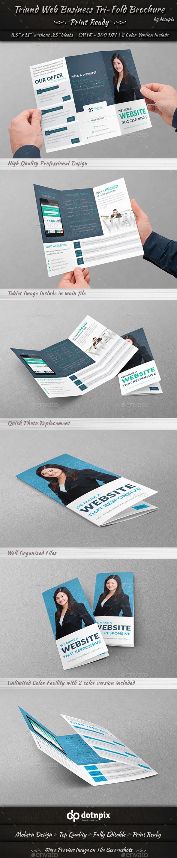 GraphicRiver Triund Web Business Tri-Fold Brochure 9545654