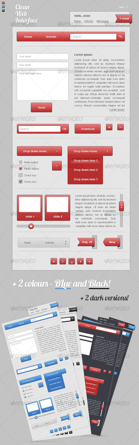 Graphic River Clean Web Interface Web Elements -  User Interfaces 121873