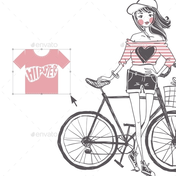 GraphicRiver Hipster Teenage Girl on Her Vintage Bike 9545745