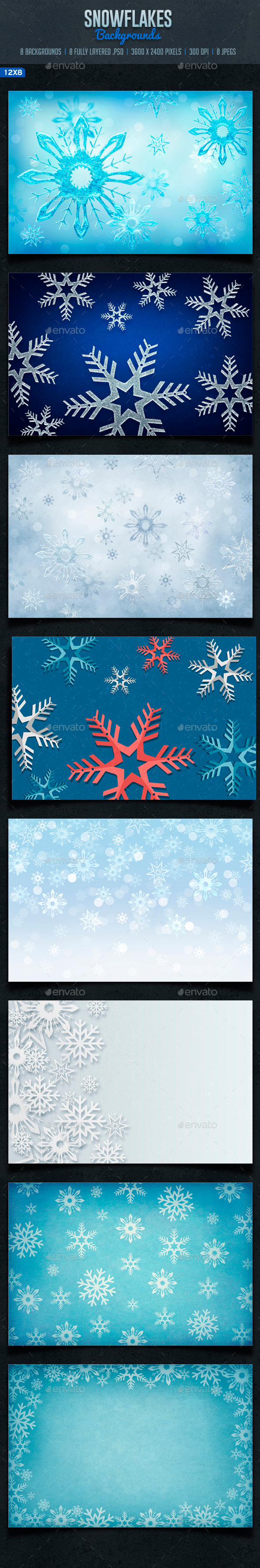 GraphicRiver Snowflakes Backgrounds 9546262